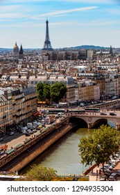 Paris, France - June 8, 2017: Panoramic view of Paris from the Notre Dame Cathedral. Full spherical 360 degrees seamless panorama in equirectangular equidistant projection, photo for VR AR content
