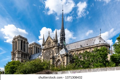 Paris France. - June 8, 2017: In the distance we can enjoy the Notre Dame Cathedral.