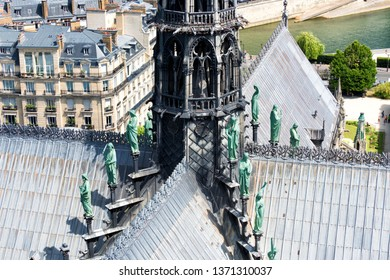 Paris France. - June 8, 2017: Detail of the main tower of the Notre Dame Cathedral.
