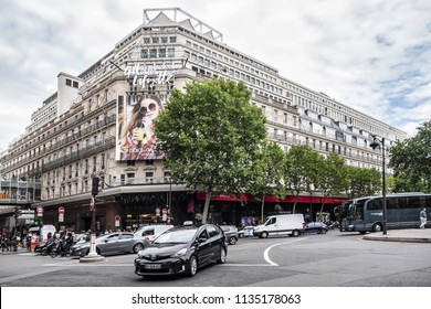 PARIS, FRANCE - JUNE 8, 2018: View flagship store of Galeries Lafayette in Paris on Boulevard Haussmann. Galeries Lafayette is one of most popular, chic and distinguished shopping centers in Paris.