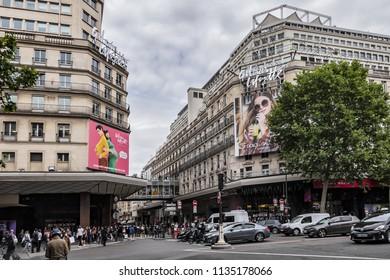 PARIS, FRANCE - JUNE 8, 2018: View flagship store of Galeries Lafayette in Paris on Boulevard Haussmann. Galeries Lafayette is one of most popular, chic and distinguished shopping centers in Paris.