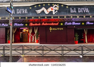 PARIS, FRANCE - JUNE 8, 2018: View of famous Boulevard de Clichy (1864) is in heart of lively district of Pigalle. Currently on Boulevard de Clichy there are theatres, concert halls, shops and clubs.