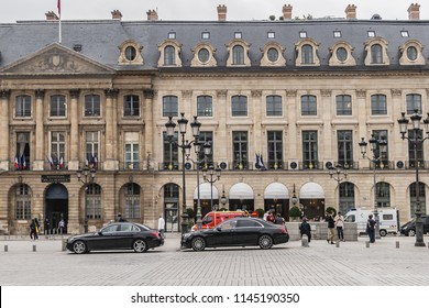 PARIS, FRANCE - JUNE 8, 2018: Place Vendome (1702), in centre Column of Vendome. Place Vendome serves today for prestigious establishments: Exclusive shops and boutique, residences, luxury hotels.