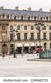 PARIS, FRANCE - JUNE 8, 2018: Paris Place Vendome (1702), in centre Column of Vendome. Place Vendome serves today for prestigious establishments: Exclusive shops, boutique, residences, luxury hotels.