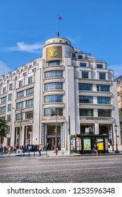 PARIS, FRANCE - JUNE 8, 2018: Superb Art Deco building of Louis Vuitton Store on Champs-Elysees. Louis Vuitton store Champs-Elysees (company flagship store) is largest Vuitton store in the world.