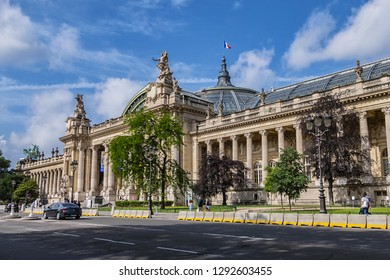 PARIS, FRANCE - JUNE 8, 2018: Grand Palais is one of the most iconic Parisian monuments. Built for 1900 Exposition Universelle. Grand Palais - now historic site, exhibition hall and museum.