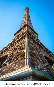 PARIS, FRANCE - JUNE 8: Detail of Eiffel tower in afteroon sun. Tower was designed by Gustave Eiffel and Stephen Sauvestre in 1889. Taken June 8, 2015