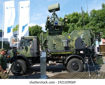 Paris, France - June.18.2008: German-Swedish ASRAD-R vehicle-mounted short-range air defense system at Eurosatory 2008