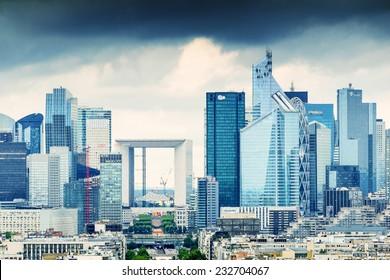 Paris, France. La Defense, aerial view of business quarter.
