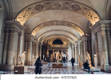 PARIS, FRANCE: large hall inside the Louvre museum in Paris, France circa February 2012.