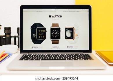 PARIS, FRANCE - MAR 10, 2015: Apple Computers website on MacBook Retina in room environment showcasing Apple Watch Range as seen on 10 March, 2015
