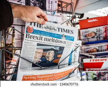 Paris, France - Mar 15, 2019: British MPs have voted for a delay in the Brexit process for three months or more newspaer The Times with cover featuring Brexit Meltdown man buy press