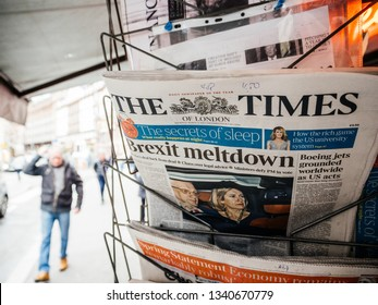 Paris, France - Mar 15, 2019: British MPs have voted for a delay in the Brexit process for three months or more newspaper The Times with cover featuring Brexit Meltdown man buy press