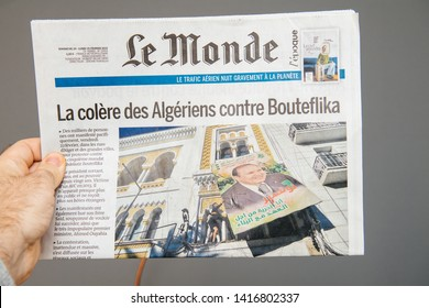 Paris, France - Mar 16, 2019: French newspaper Le Monde featuring news about Algeria ailing President Abdelaziz Bouteflika