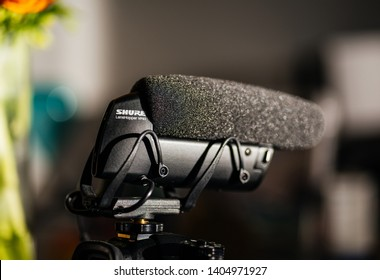 Paris, France - Mar 18, 2019: Detailed photograph of new microphone made by Shure Lenshopper VP83 mounted on Panasonic GH5 mirrorless camera