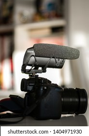 Paris, France - Mar 18, 2019: Side view of new microphone made by Shure America Model Lenshooper VP 83 mounted on Panasonic GH5 mirrorless camera