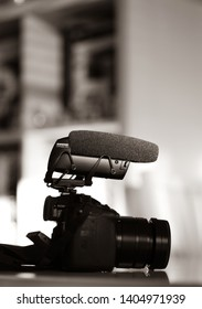 Paris, France - Mar 18, 2019: Black and white image of microphone made by Shure Lenshopper VP 83 mounted on Panasonic GH5 mirrorless camera