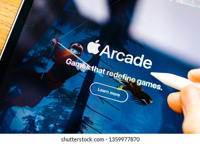 Paris, France - Mar 27, 2019: New Apple Arcade logotype seen on modern Ipad Pro tablet featuring the new subscription model for over 100 groundbreaking new games