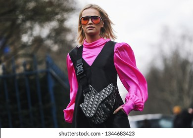 Paris, France - March 01, 2019: Street style outfit -   before a fashion show during Paris Fashion Week - PFWFW19