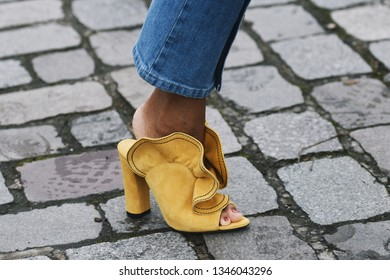 Paris, France - March 01, 2019: Street style outfit -  Fancy shoes in detail after a fashion show during Paris Fashion Week - PFWFW19
