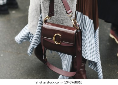 Paris, France - March 01, 2019: Street style outfit -  Chloe purse after a fashion show during Paris Fashion Week - PFWFW19