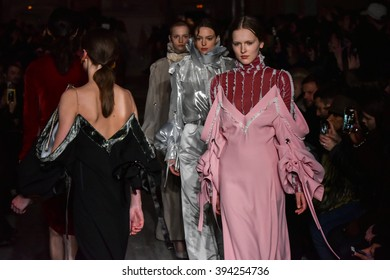 PARIS, FRANCE - MARCH 01: Models walks the runway during the Y/Project show as part of the Paris Fashion Week Womenswear Fall/Winter 2016/2017 on March 1, 2016 in Paris, France.