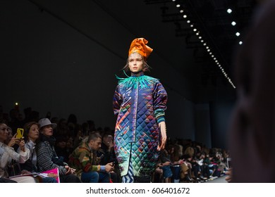 PARIS, FRANCE - MARCH 02, 2017: A model walks the runway at the Manish Arora Ready to Wear fashion show as part of the Paris Fashion Week Womenswear Fall/Winter 2017/2018