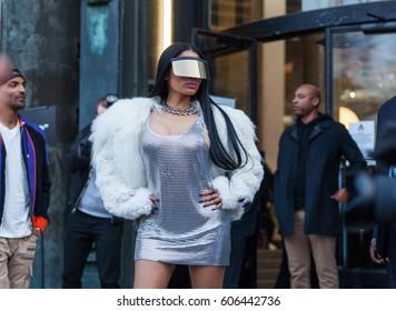 PARIS, FRANCE - MARCH 02, 2017: Niki Minaj poses before the Rick Owens show at the Palais de Tokyo during Paris Fashion Week Womenswear FW 17/18