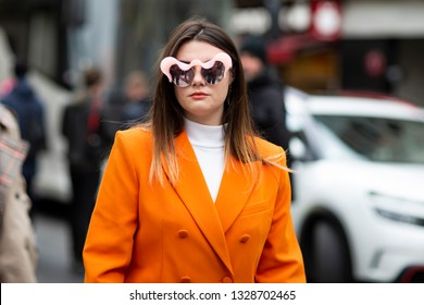 Paris, France - March 02 2019: Street Style, A guest, outside Elie Saab fashion show, during the 6Th day of the Paris Fashion Week Autumn/Winter 2019/20