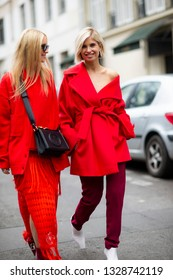 Paris, France - March 02 2019: Street Style, Charlotte Groeneveld and Xenia Van Der Woodsen outside Elie Saab fashion show, during Paris Fashion Week Autumn/Winter 2019/20