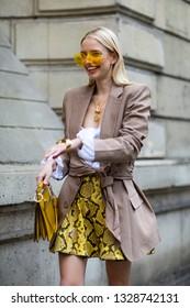 Paris, France - March 02 2019: Street Style, Leonie Hanne outside Elie Saab fashion show, during Paris Fashi n Week Autumn/Winter 2019/20