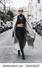 Paris, France - March 02, 2019: Street style outfit -  Caroline Daur after a fashion show during Paris Fashion Week - PFWFW19