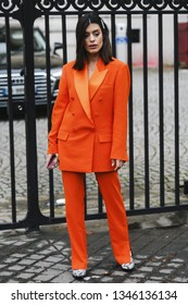 Paris, France - March 02, 2019: Street style outfit -  Aida Domenech after a fashion show during Paris Fashion Week - PFWFW19