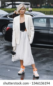 Paris, France - March 02, 2019: Street style outfit -  Xenia Adonts after a fashion show during Paris Fashion Week - PFWFW19
