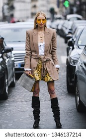 Paris, France - March 02, 2019: Street style outfit -  Leonie Hanne after a fashion show during Paris Fashion Week - PFWFW19