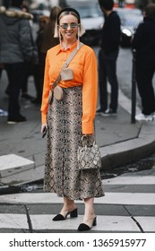 Paris, France - March 02, 2019: Street style – Street style outfit before a fashion show during Milan Fashion Week - PFWFW19;