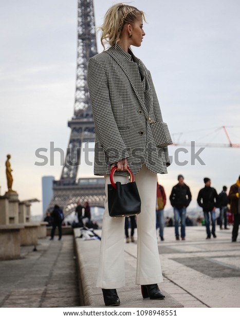 PARIS, France- March 03 2018:Caroline Daur on the street during the Paris Fashion Week