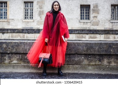 PARIS, FRANCE - MARCH 03, 2019: Eva Chen seen before VALENTINO show during Paris Fashion Week Womenswear Fall/Winter 2019/2020