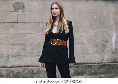 Paris, France - March 03, 2019: Street style outfit -  Pernille Teisbaek after a fashion show during Paris Fashion Week - PFWFW19