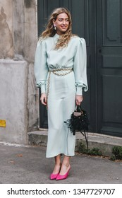 Paris, France - March 03, 2019: Street style outfit -  Emili Sindlev after a fashion show during Paris Fashion Week - PFWFW19
