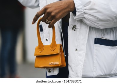 Paris, France - March 03, 2019: Street style outfit -  Purse in detail after a fashion show during Paris Fashion Week - PFWFW19