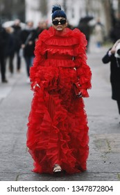 Paris, France - March 03, 2019: Street style outfit -  Sita Abellan after a fashion show during Paris Fashion Week - PFWFW19