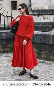 Paris, France - March 03, 2019: Street style outfit -   after a fashion show during Paris Fashion Week - PFWFW19
