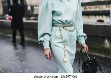 Paris, France - March 03, 2019: Street style outfit, close up, after a fashion show during Paris Fashion Week - PFWFW19