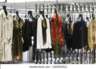 e0ef6b26e91 Paris, France - March 03, 2019: Luxury clothing in Yves Saint Laurent store
