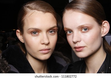 PARIS, FRANCE - MARCH 03: A beauty face shots of models backstage before the Barbara Bui Autumn/Winter 2011/2012 show during Paris Fashion Week at Pavillon Concorde on March 3, 2011 in Paris, France.