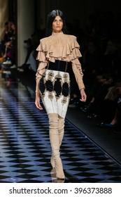 PARIS, FRANCE - MARCH 03: Bhumika Arora walks the runway during the Balmain show as part of the Paris Fashion Week Womenswear Fall/Winter 2016/2017 on March 3, 2016 in Paris, France.