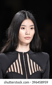 PARIS, FRANCE - MARCH 03: Ming Xi walks the runway during the Balmain show as part of the Paris Fashion Week Womenswear Fall/Winter 2016/2017 on March 3, 2016 in Paris, France.
