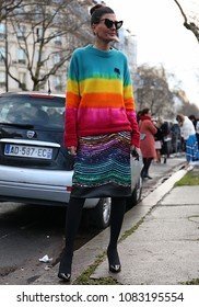 PARIS, France- March 04 2018:Giovanna Battaglia Engelbert on the street during the Paris Fashion Week