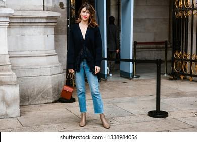 PARIS, FRANCE - MARCH 04, 2019: Jeanne Damas seen before Stella McCartney show, during Paris Fashion Week Womenswear Fall/Winter 2019/2020.